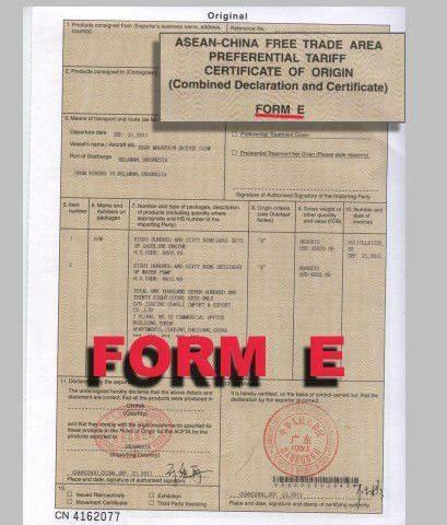 chứng từ nhập khẩu Trung Quốc CO from E