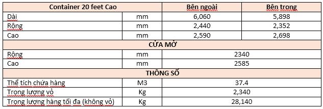 thông số kỹ thuật container 20 feet cao